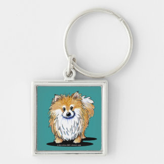 Curious Pomeranian Silver-Colored Square Keychain