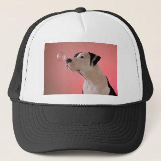 Curious pup trucker hat