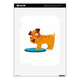 Curious Puppy Stepping On Trapdoor Decals For iPad 3