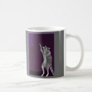 Curious Raccoon Reaches for Supernova Coffee Mug