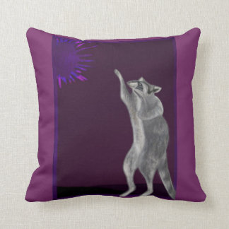 Curious Raccoon Reaches for Supernova Throw Pillow