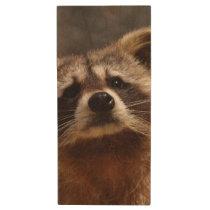 Curious Raccoon Wood Flash Drive