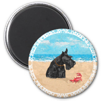 Curious Scottie at the Beach 2 Inch Round Magnet