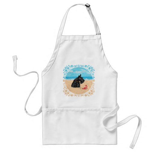 Curious Scottie at the Beach Adult Apron