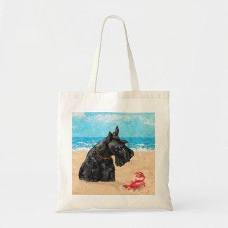 Curious Scottie at the Beach Canvas Bag