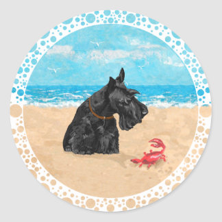Curious Scottie at the Beach Classic Round Sticker