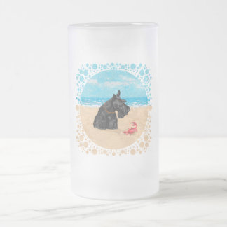 Curious Scottie at the Beach Frosted Glass Beer Mug