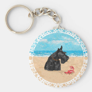 Curious Scottie at the Beach Keychain