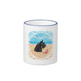 Curious Scottie at the Beach Ringer Mug