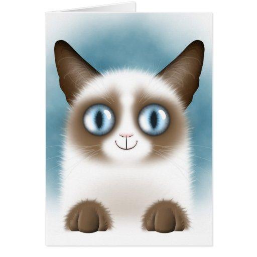 Curious Siamese Kitten Greeting Card