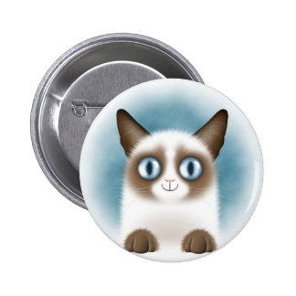 Curious Siamese Kitten Pinback Button