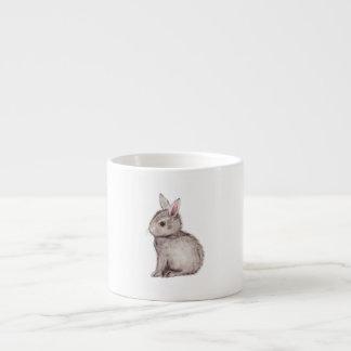 Curious silver grey bunny watercolor painting espresso cup