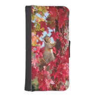 Curious squirrel in autumn tree iPhone 5 wallets