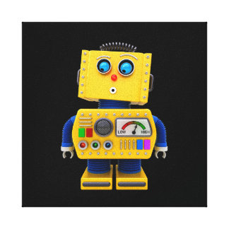 Curious toy robot looking down canvas print
