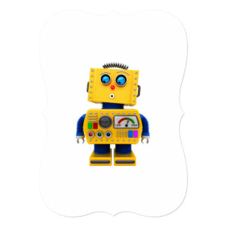 Curious toy robot looking down card