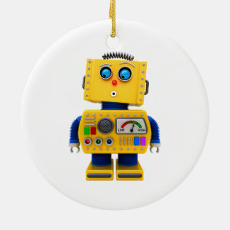 Curious toy robot looking down ceramic ornament