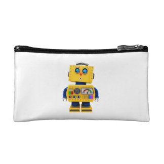 Curious toy robot looking down cosmetic bag