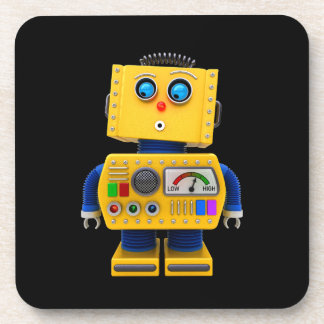 Curious toy robot looking down drink coaster
