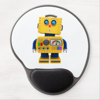 Curious toy robot looking down gel mouse pad