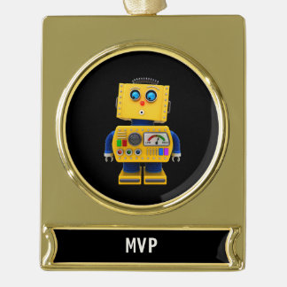 Curious toy robot looking down gold plated banner ornament