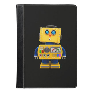 Curious toy robot looking down iPad air case