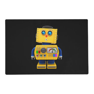 Curious toy robot looking down placemat