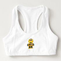 Curious toy robot looking down sports bra