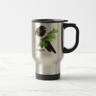 Curious watercolor Magpie Bird Nature Art 15 Oz Stainless Steel Travel Mug