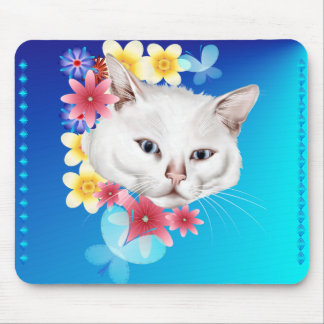 Curious white kitty checking thru the garden Mouse Mouse Pad