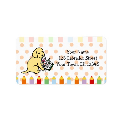 Curious Yellow Labrador Puppy Label