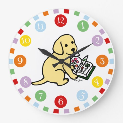 Curious Yellow Labrador Puppy Large Clock
