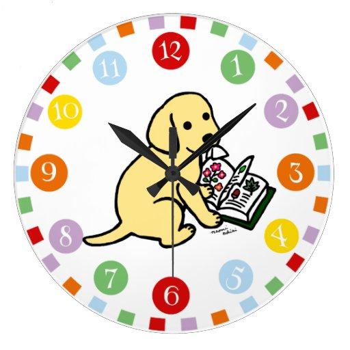 Curious Yellow Labrador Puppy Large Clock