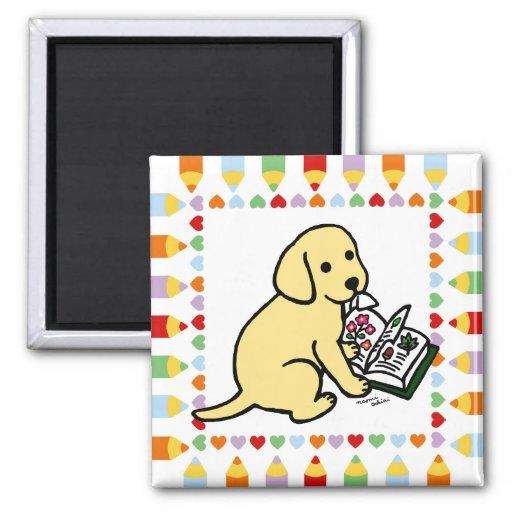Curious Yellow Labrador Puppy Magnet