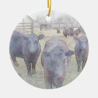 Curious Young Black Angus Christmas Ornaments