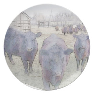 Curious Young Black Angus Plate