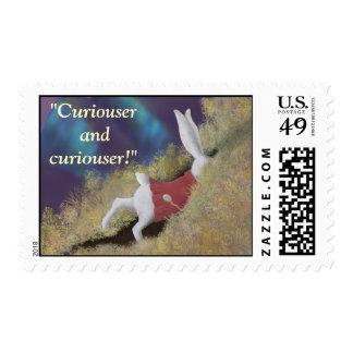 Curiouser White Rabbit Wonderland Postage