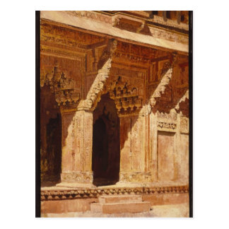 Curiously Wrought Red Sandstone Arches, Fort Agra Postcard