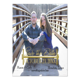 Curl Bar and Weights Photo Magnetic Save the Date