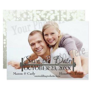 Curl Bar and Weights Photo Save the Date Card