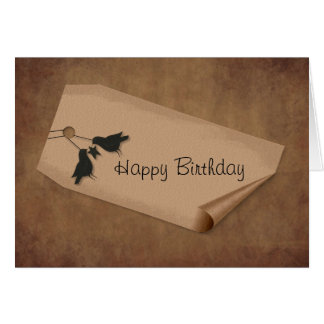 Curl Tag Crows Birthday Card