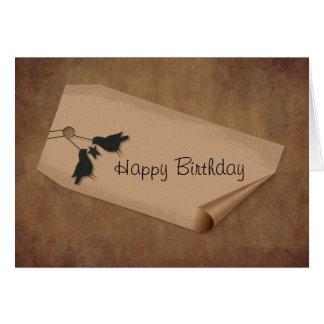 Curl Tag Crows Birthday Card