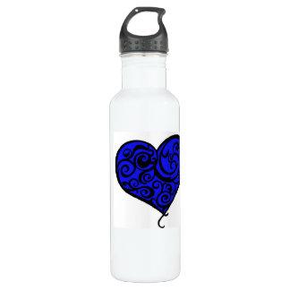 Curled Blue Purple Heart Love Water Bottle