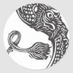Curled Chinese Dragon Round Stickers