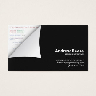 Curled Corner with Program Coding - C++ Business Card