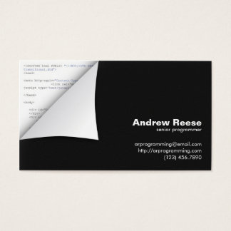 Curled Corner with Program Coding - HTML Business Card