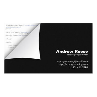 Curled Corner with Program Coding - HTML Business Cards
