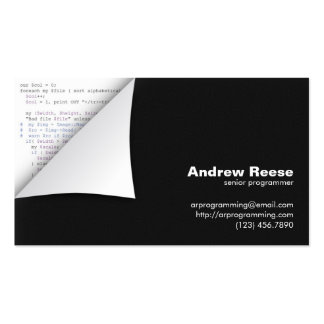 Curled Corner with Program Coding - Perl Double-Sided Standard Business Cards (Pack Of 100)