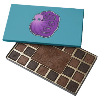 Curled Purple Spotted Octopus Ink Drawing Design 45 Piece Box Of Chocolates