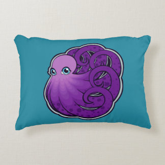 Curled Purple Spotted Octopus Ink Drawing Design Accent Pillow