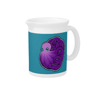 Curled Purple Spotted Octopus Ink Drawing Design Beverage Pitcher